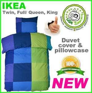Ikea duvet cover pillowcase all size cotton modern blue