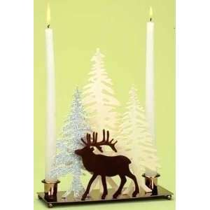 Home for the Holidays Deer with Winter Scene Christmas Candle Holder