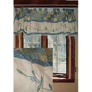 JC Penney Cotton Lined Pieced Tab Top Valance