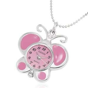 Fashion Pink Enameled Butterfly Charm Pocket Watch