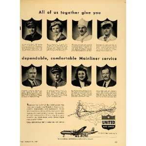 1949 Ad United Airlines Mainliner Crew Pilot Stewardess