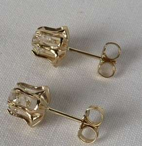 ANTIQUE 14K YELLOW GOLD 1.45CT OLD MINE DIAMOND STUD EARRINGS~FINE NEW
