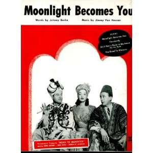 Moonlight Becomes You Vintage 1942 Sheet Music from Road