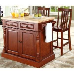 Kitchen on Butcher Block Top Kitchen Island In Cherry Finish With 24