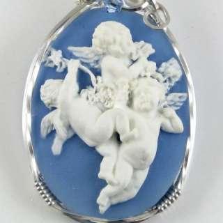 Baby Angel Cherubs Cameo Pendant Sterling Silver
