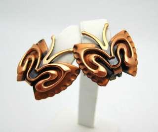RENOIR Copper Butterfly Brooch Pin Earrings Set LARGE Fancy Demi