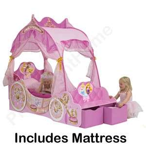 DISNEY PRINCESS CARRIAGE TODDLER BED + DELUXE MATTRESS