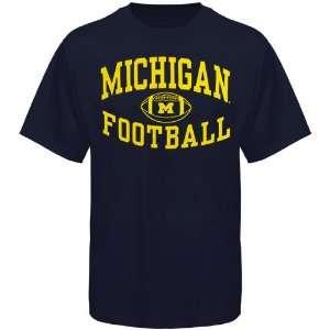 Michigan Wolverines Reversal Football T Shirt   Navy Blue