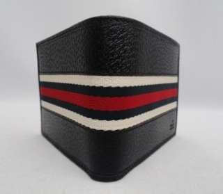 BN Auth Men Gucci Dark Blue / like Black Bi fold Leather Web Wallet