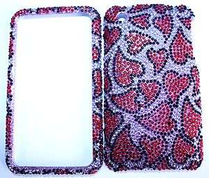 Apple iPhone 3G 3GS Red Heart Love SILVER BLING HARD CASE COVER