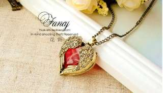 Retro Bronze Angel Wing Red Gem Heart Charm Pendant Long Necklace n498
