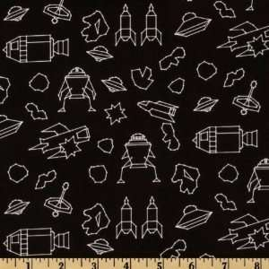 44 Wide Blast Off Galaxy Quest Black/White Fabric By
