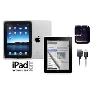 Apple iPad Skin case Clear + LCD screen protector + Dual