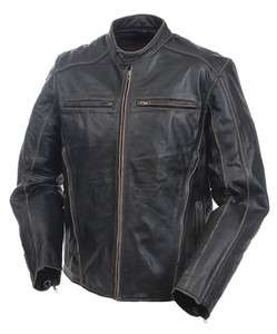 MOSSI MENS DRIFTER PREMIUM LEATHER JACKET SIZES 38 40 42 44 46 48 50