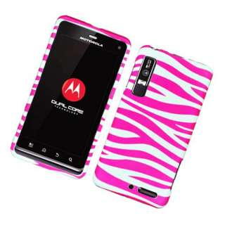 Motorola Droid 3 Pink Zebra Hard Cover Phone Case