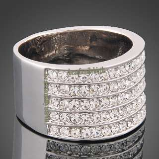 18k White GOLD Gp Swarovski crystals wedding ring R31