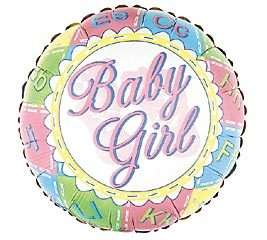 FREE S&H Quilted Blocks Its a Girl Baby Shower Balloon