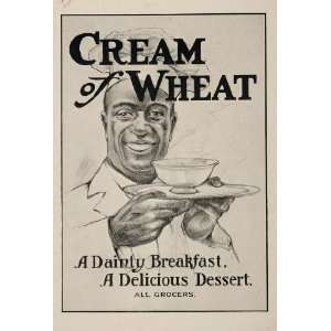 1906 Ad Cream of Wheat Bowl Chef Rastus Black Americana