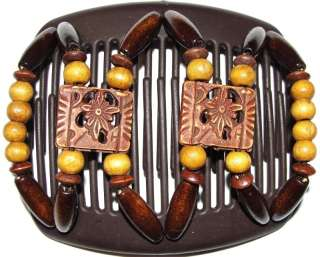NEW African Butterfly Hair Clip Dupla Brown Comb DPL3