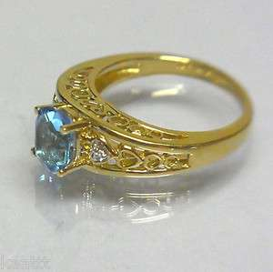 Large Coctail Ring w/ 8x6mm Topaz Diamonds in Heart Design Yellow Gold
