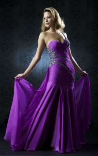 Mac Duggal 78365 Purple Silk Pageant Prom Gown Dress 14