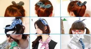 Cute Rabbit Ear Ribbon Denim Headband Hair Band 4 Party