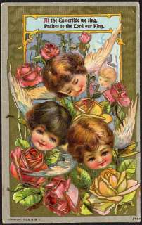 LITTLE ANGEL FACES & ROSES   Easter Postcard   1906