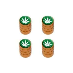 Marijuana Leaf   Weed Pot Tire Valve Stem Caps   Orange