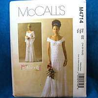 McCalls 4714 Petite Empire Waist Bridal Gown Ptn 14 20
