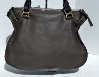 LARGE LEATHER SATCHEL SHOULDER TOTE BAG GRAY *CELEB FAVORITE*