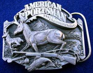 American Sportsman Hunting Pronghorn Gun Belt Buckle