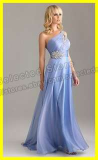 Shoulder A Line Floor Length Beaded Chiffon Long Evening Prom Dresses