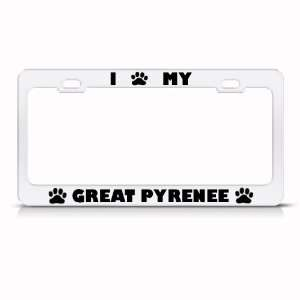 Great Pyrenee Dog White Animal Metal license plate frame