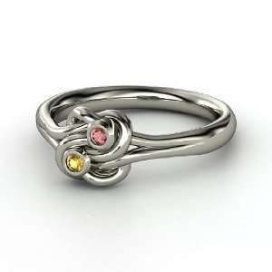 Knot Ring, Sterling Silver Ring with Citrine & Red Garnet Jewelry