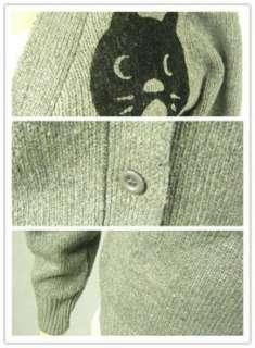 D153 Womens Cute Cat Print Simple Grey Cardigan SZ8 10