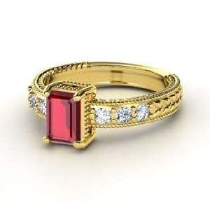 Emerald Isle Ring, Emerald Cut Ruby 14K Yellow Gold Ring