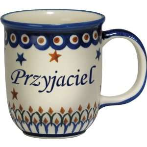Polish Pottery 12oz Mug   PRZYJACIEL, FRIEND (M) Patio, Lawn & Garden
