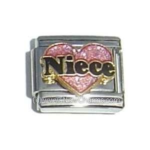 Pink Heart Black Letters Italian Charm Bracelet Jewelry Link Jewelry