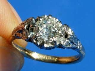 ANTIQUE ART DECO PLATINUM 0.82CT DIAMOND SOLITAIRE RING