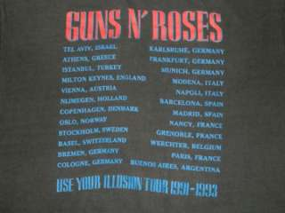 1992 GUNS N ROSES EUROPEAN TOUR VINTAGE T SHIRT XL CONCERT USE YOUR
