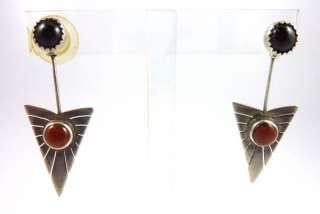 Vintage Set Sterling Silver Earrings & Necklace w/ Garnet Stone GREAT