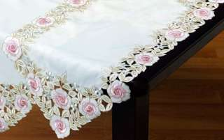 Pastel Beauty Lace Table Runner Doily Pink Rose 36