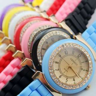 Fashion Sport Soft Rubber Silicone Crystal Jelly Watch Unisex 7 Color