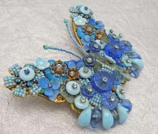 Vintage Stanley Hagler NYC Blue Beaded Wire Work Rhinestones Butterfly