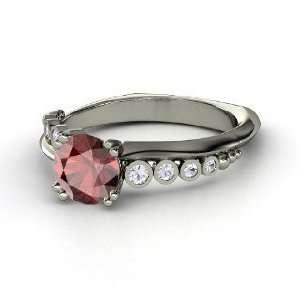 Isabella Ring, Round Red Garnet 14K White Gold Ring with