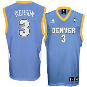 Allen Iverson Youth Jersey: adidas Blue Replica #3 Denver
