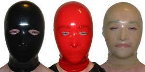 Rubber Latex Costume Hood Mask w/ Eye & Nose Opening