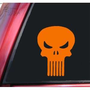 Punisher Skull Vinyl Decal Sticker   Orange
