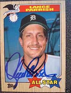 1987 Topps #613 Detroit Tigers LANCE PARRISH Autograph