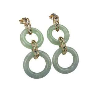Light Green Jade Ventura Rings Earrings, 14K Gold Jewelry